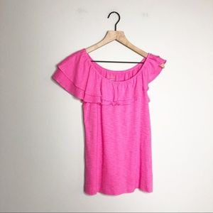 Lilly Pulitzer Bright Pink Asymmetrical Shoulder